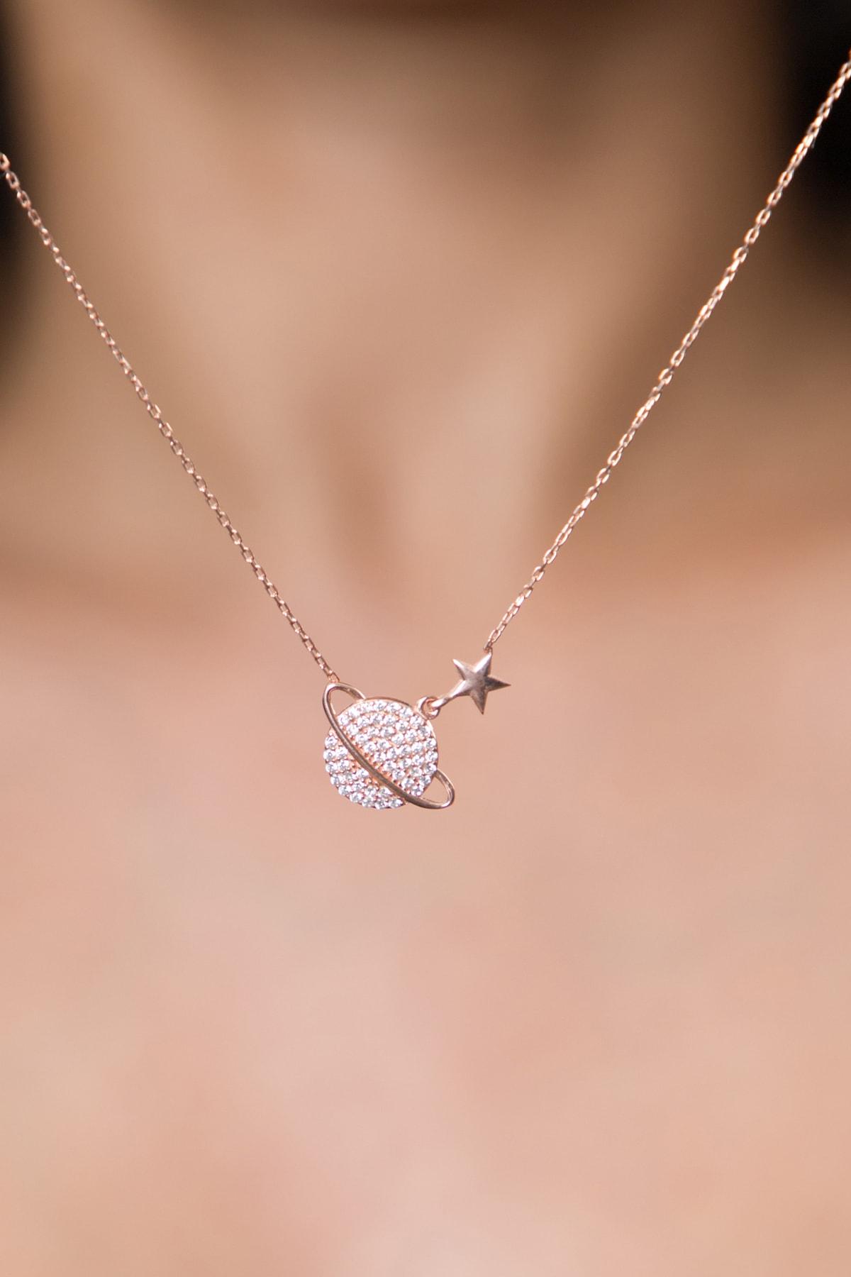 Elika Silver Kadın Gezegen Model Zirkon Taşlı Rose Kaplama 925 Ayar Gümüş Kolye