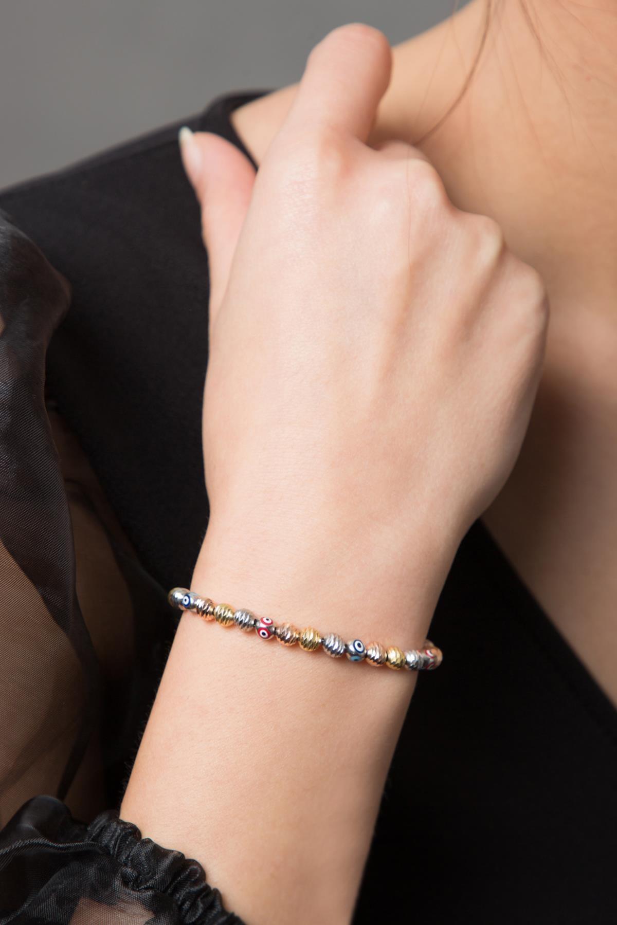 Elika Silver Kadın Nazar Boncuklu 3 Renkli  Dorika Karışık 925 Ayar Gümüş Bileklik 1