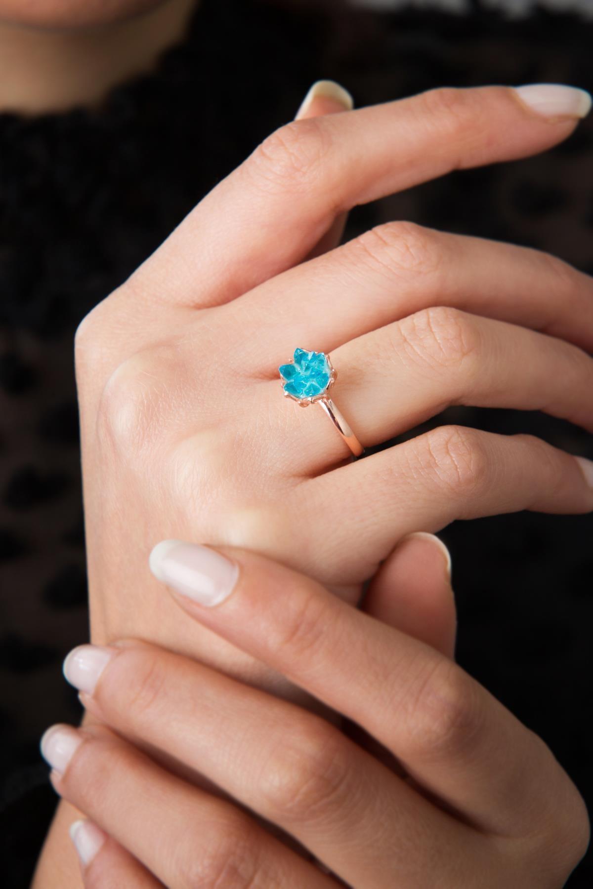 Elika Silver Kadın Ayarlanabilir Mavi Lotus Çiçeği Model 925 Ayar Gümüş Yüzük