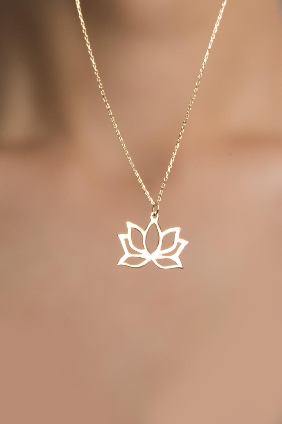 Elika Gold Kadın Lotus Çiçeği Model 14 Ayar Altın Kolye