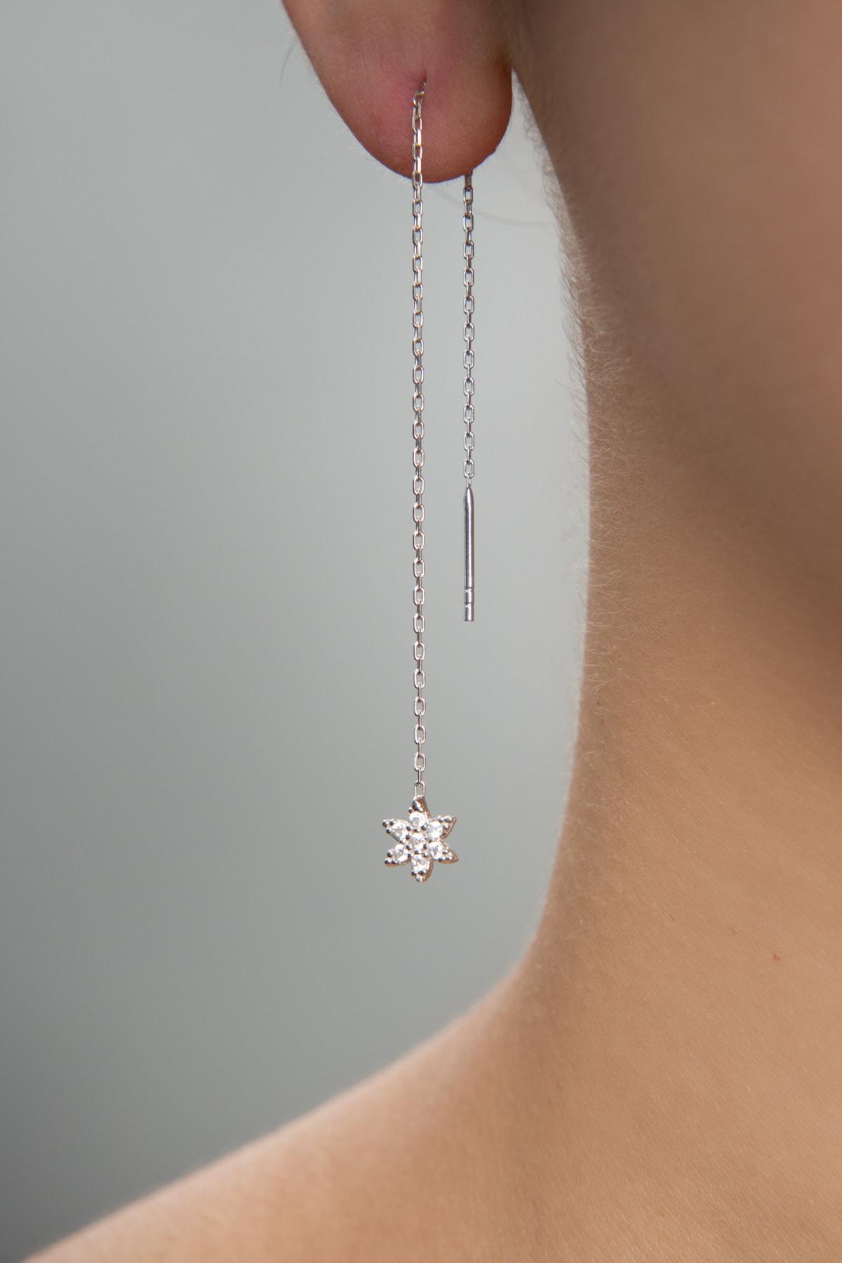 Elika Silver Kadın Taşlı Yıldız Model Sallantılı 925 Ayar Gümüş Küpe