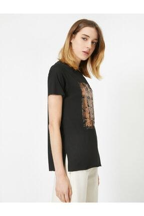 Koton Kadın Siyah Pul Detaylı Bisiklet Yaka Kısa Kollu T-shirt