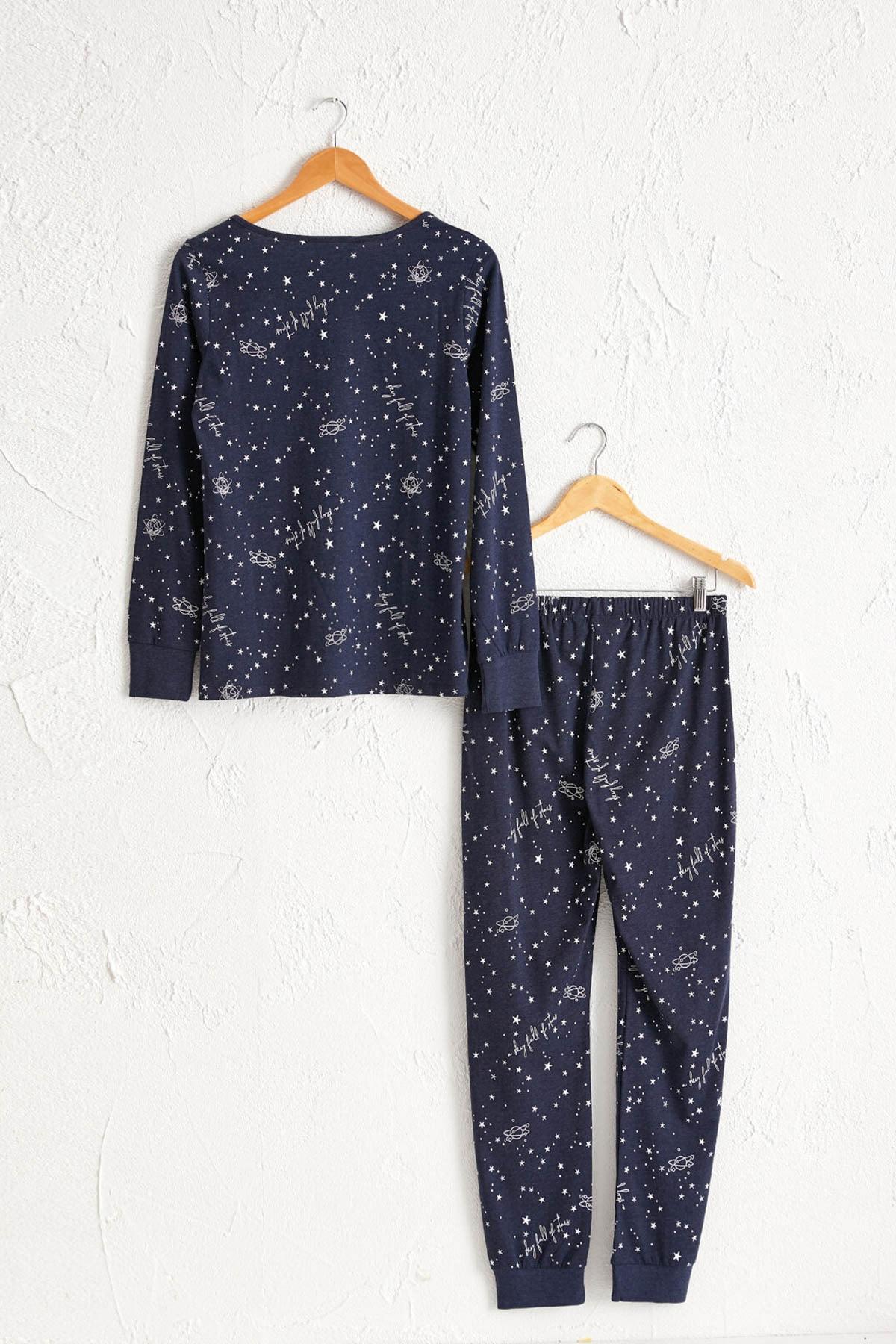 LC Waikiki Kadın Lacivert Baskılı Pijama Takım 0W7595Z8 1