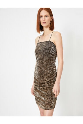 Koton Leopar Desenli Elbise Abiye Metalik Kamisol Mini