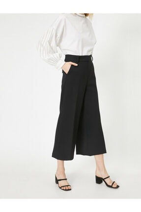 Koton Kadın Siyah Yüksek Bel Culotte Pantolon