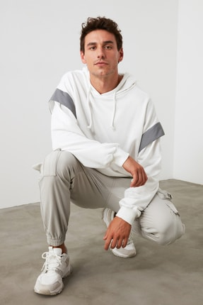 TRENDYOL MAN Beyaz Bol Kesim Kapüşonlu Sweatshirt TMNSS20SW0205