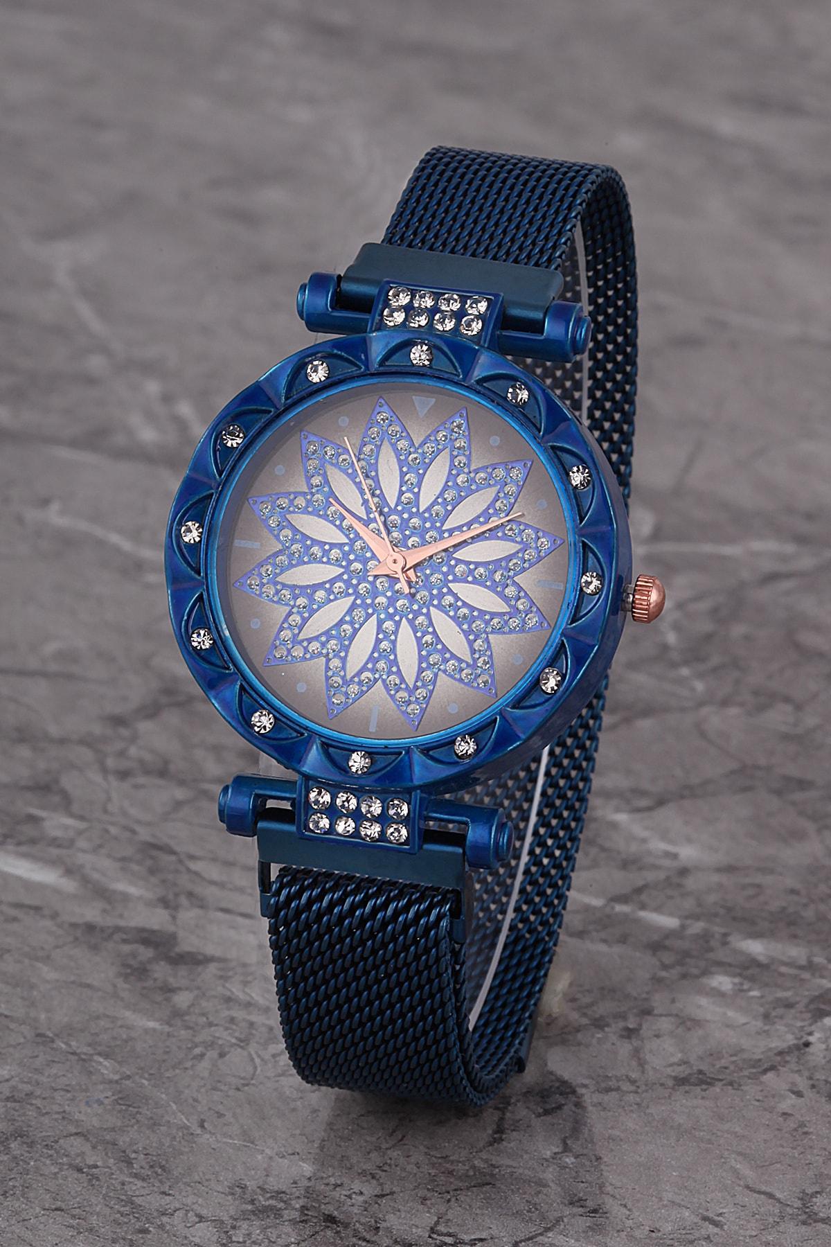 Polo55 Plkhm015r02 Kadın Saat Lacivert Taşlı Çiçekli Şık Kadran Mıknatıslı Hasır Kordon 1