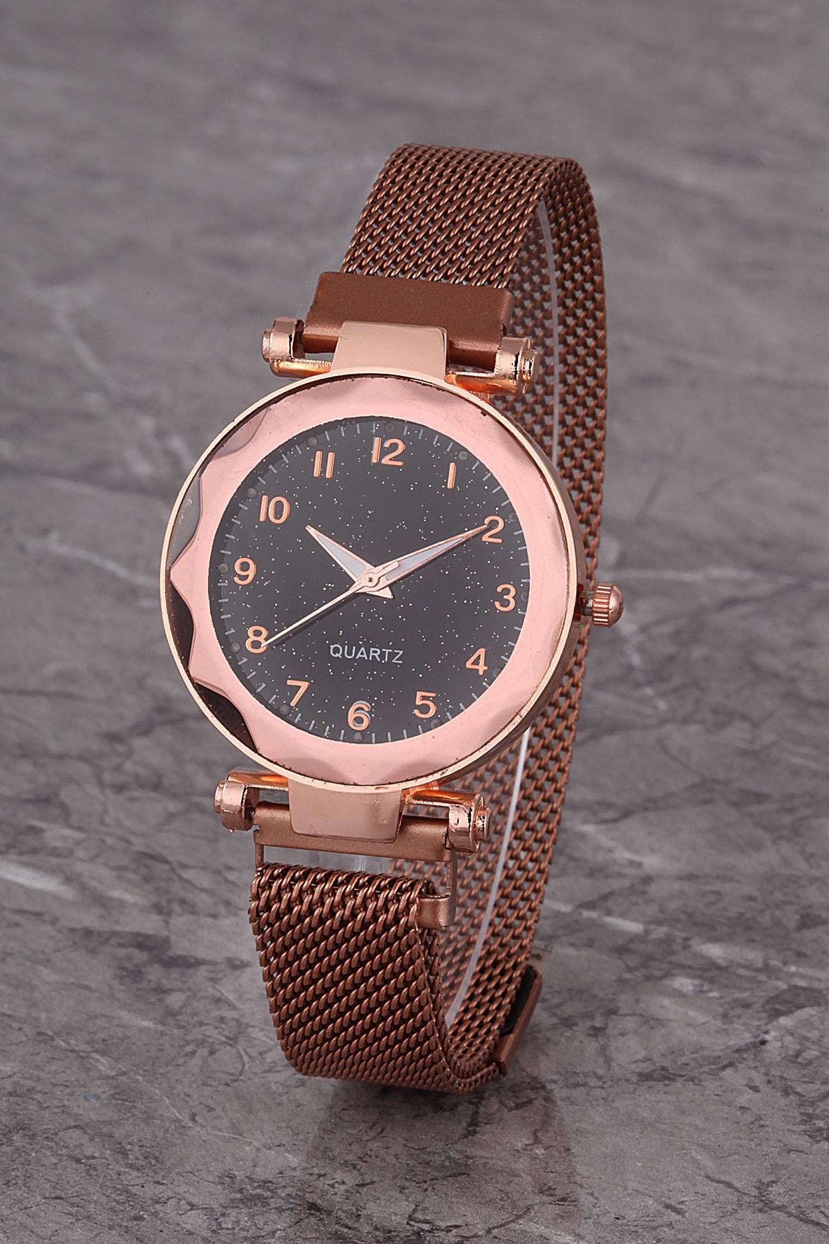 Polo55 Plkhm014r04 Kadın Saat Rose Numaralı Prizma Kadran Mıknatıslı Hasır Kordon 1