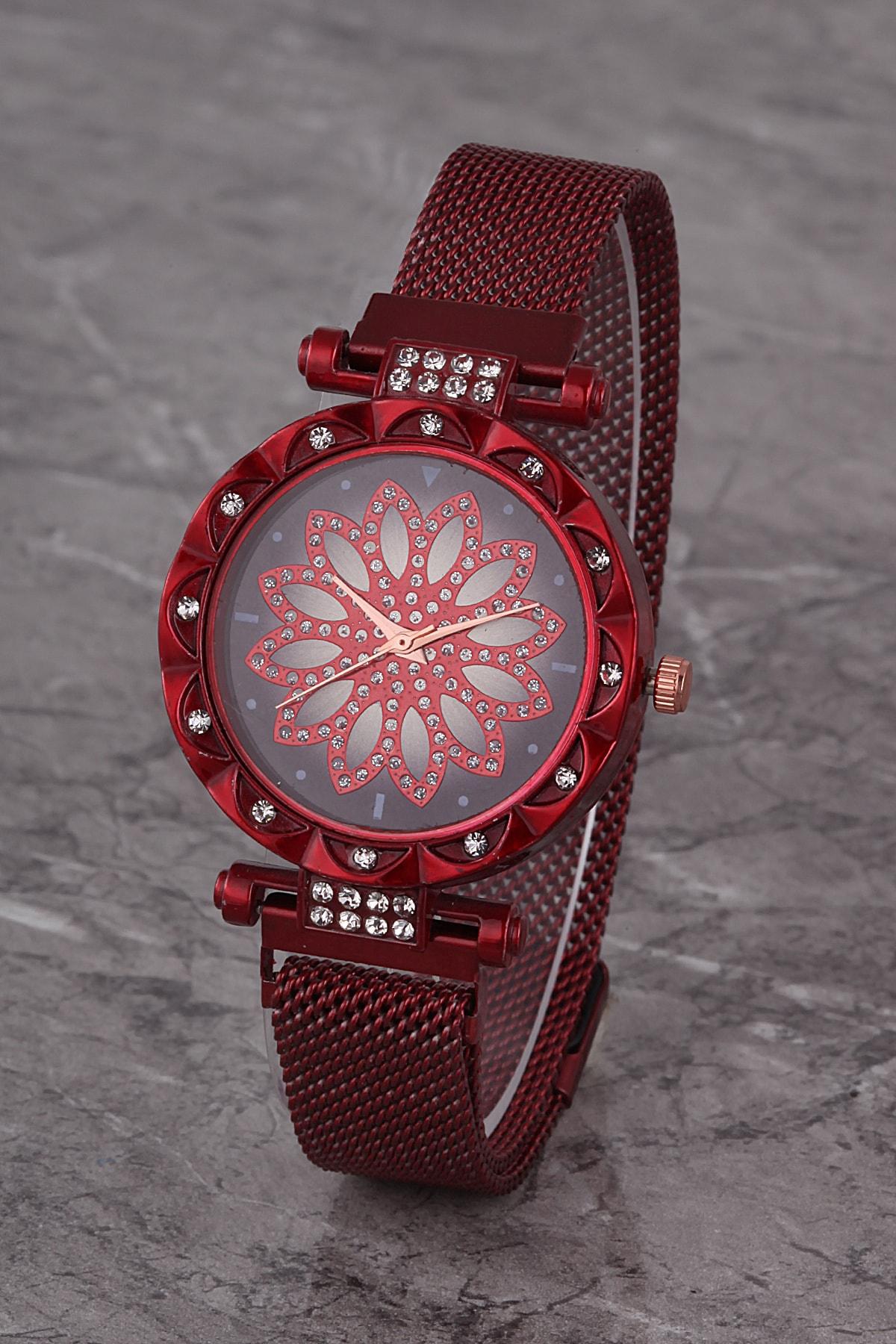Polo55 Plkhm015r05 Kadın Saat Kırmızı Taşlı Çiçekli Şık Kadran Mıknatıslı Hasır Kordon 1