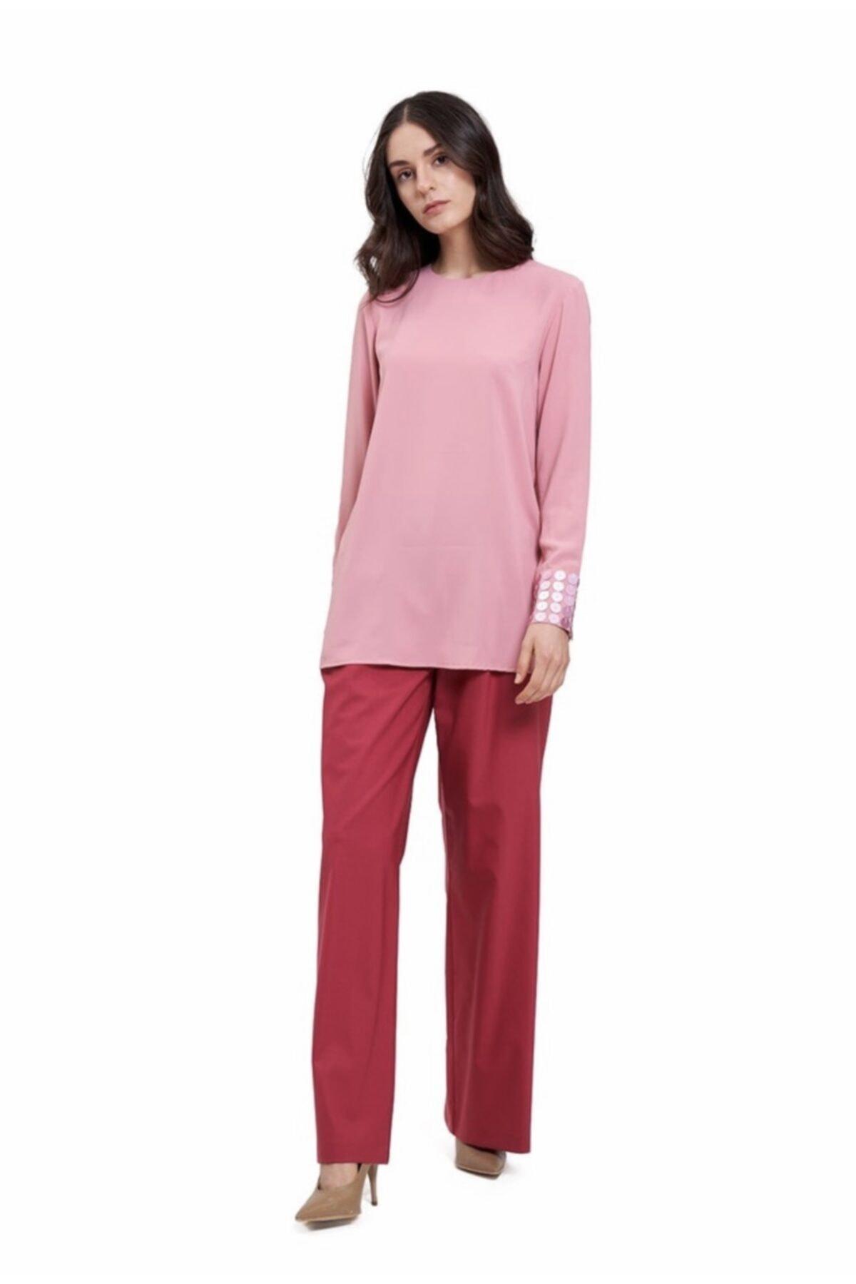 Mizalle Kadın Pembe Manşetleri Pul Işlemeli Bluz 2