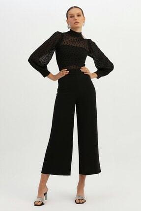 Quzu Kadın Siyah Yüksek Bel Bol Paça Pantolon