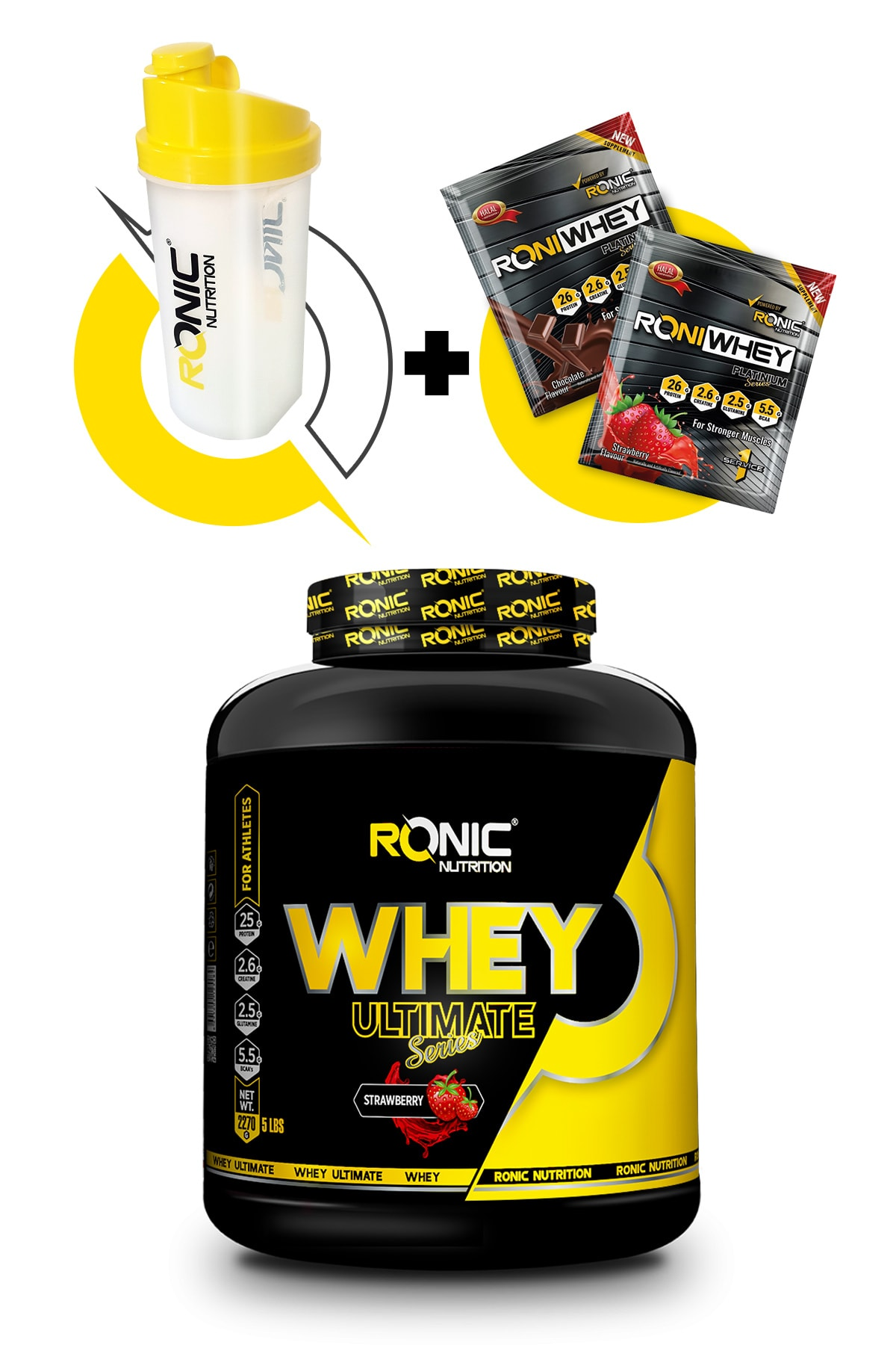 Ronic Nutrition Ultimate Whey Protein Tozu Çilek Aromalı 2270 Gr + 3 Adet Hediye 1