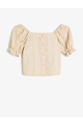 Koton Kids Kız Çocuk Ekru Dügme Detayli Bluz