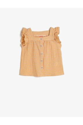 Koton Kids Kız Bebek Sarı Kareli Gömlek