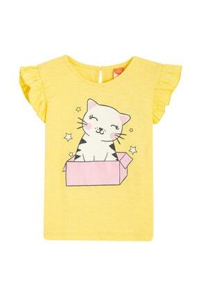 Koton Kids Kız Bebek Sarı Love Kids Baskılı Bisiklet Yaka Kısa Kollu Fırfır Detaylı T-shirt