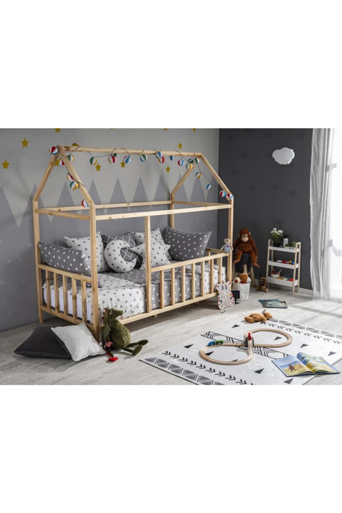 Baby Kinder Çatılı Doğal Montessori Bebek & Çocuk Karyolası 1