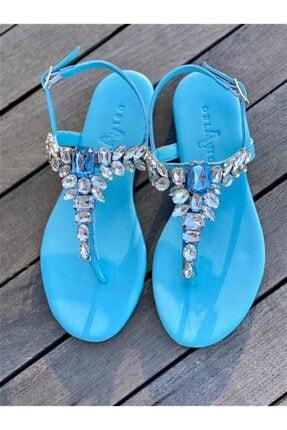 Oblavion Lavin Hakiki Deri Bebe Mavi Taşlı Sandalet