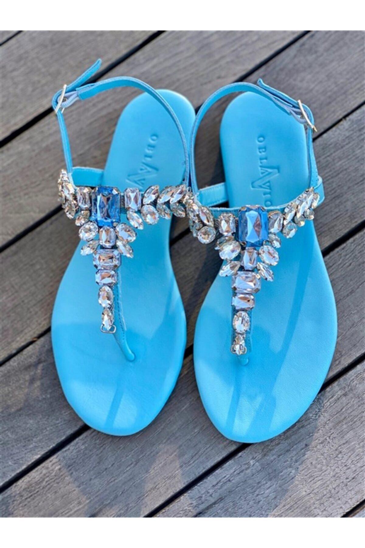 Oblavion Lavin Hakiki Deri Bebe Mavi Taşlı Sandalet 1