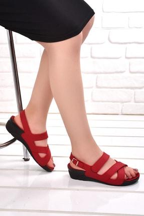 Ceyo Kadın Kırmızı Günlük Anatomik Sandalet