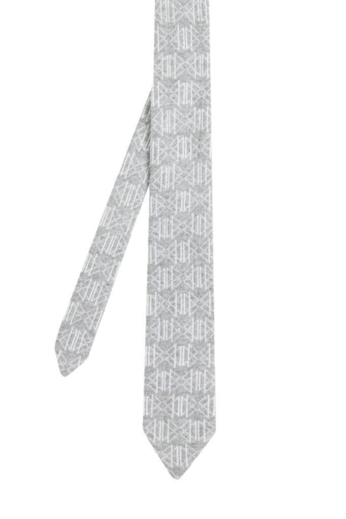 Hemington Desenli Açık Gri Örgü Kravat 1