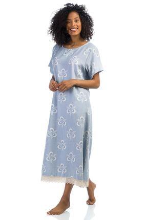 SUNFOLLOWERS Bol Kesim Pamuk Buz Mavi Elbise - Dantelli