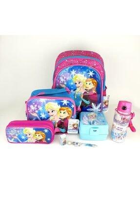 Frozen 7 Parça Set(çanta+beslenme+bes.kabı+suluk+silgi+kalem+kalem Kutu)