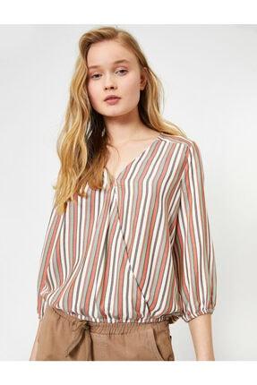 Koton Kadın Kırmızı Çizgili Bluz