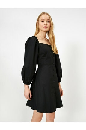 Koton Kadın Siyah Dügme Detaylı Elbise 0YAL88110IW