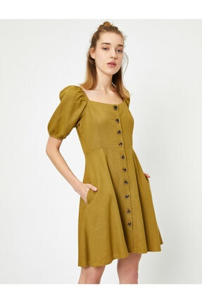 Koton Kadın Sarı U Yaka Kısa Kollu Düğme Detaylı Midi Elbise
