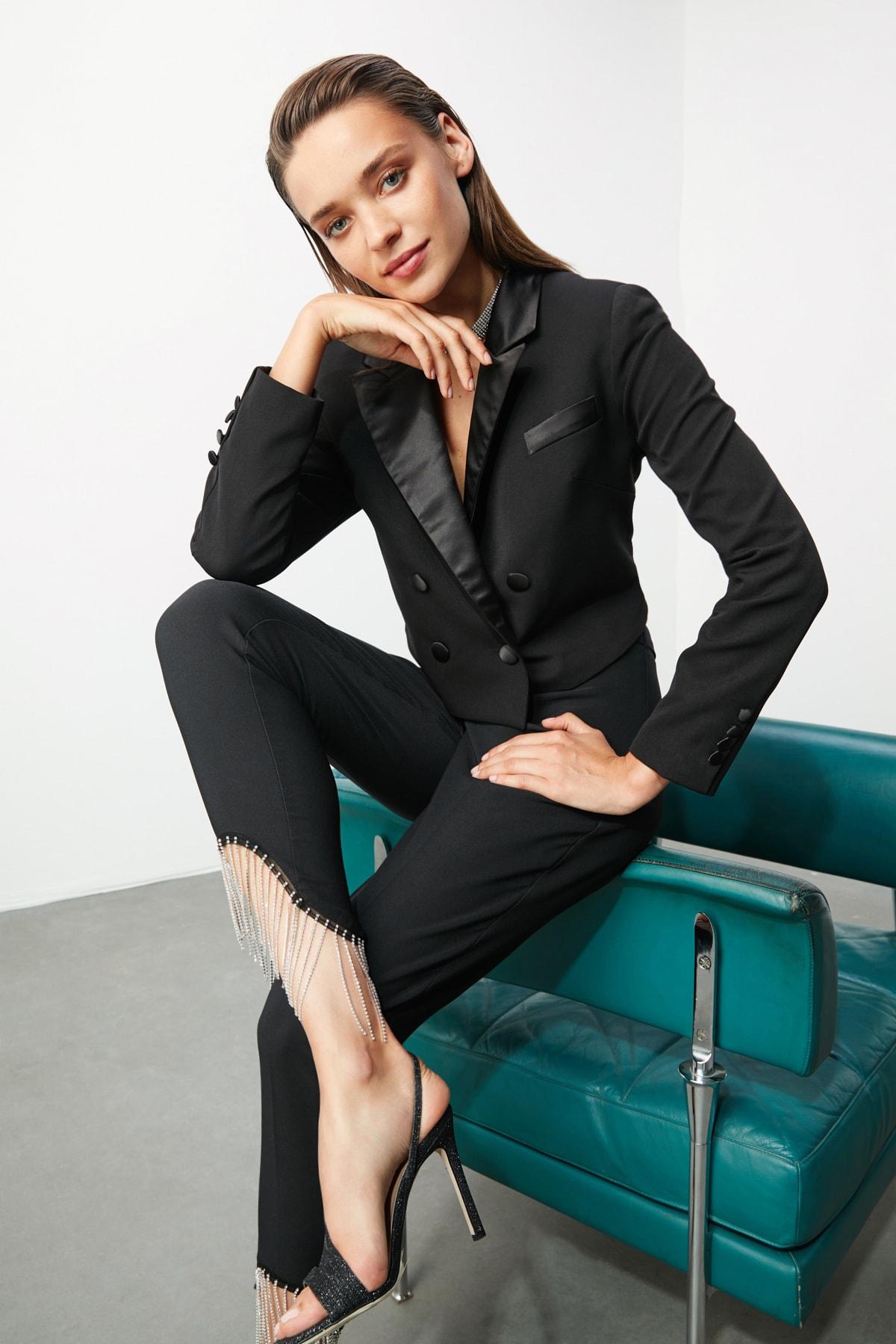 TRENDYOLMİLLA Siyah Taş Aksesuarlı Pantolon TPRSS20PL0106 2