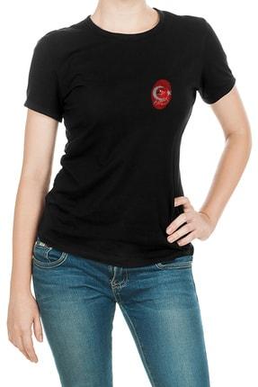 Collage Atatürk Parmak Izi Baskılı Siyah Kadın Örme Tshirt T-shirt Tişört T Shirt