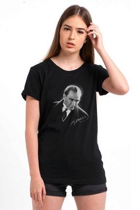 Collage Atatürk Portre Baskılı Siyah Kadın Örme Tshirt T-shirt Tişört T Shirt