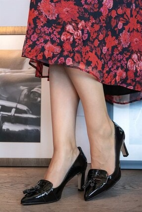 Mio Gusto Emma Siyah Rugan Topuklu Ayakkabı