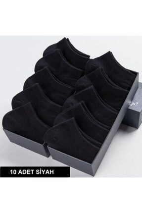 çorapmanya 10 Çift Bambu Dikişsiz Siyah Erkek Patik Çorap Bilek Boy