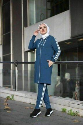 Camelya Fashion Kadın Mavi Tesettür Eşofman Takımı