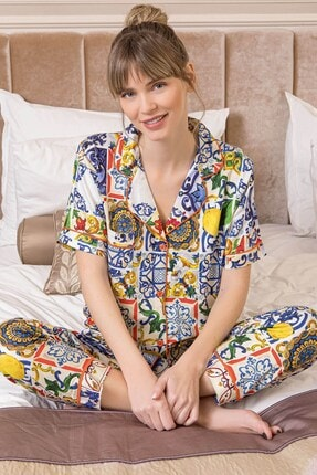Lohusa Sepeti Girl Boss Lite Kadın Önden Düğmeli Pijama Takımı 608
