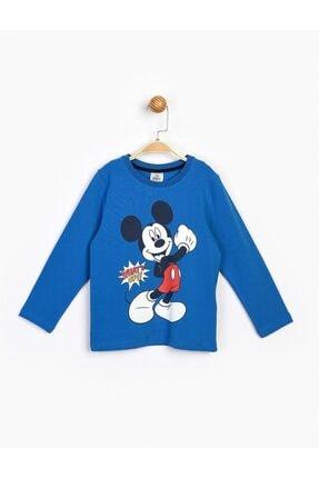 Mickey Mouse Erkek Çocuk Mavi Mickey Uzun Kol Tişört 17216