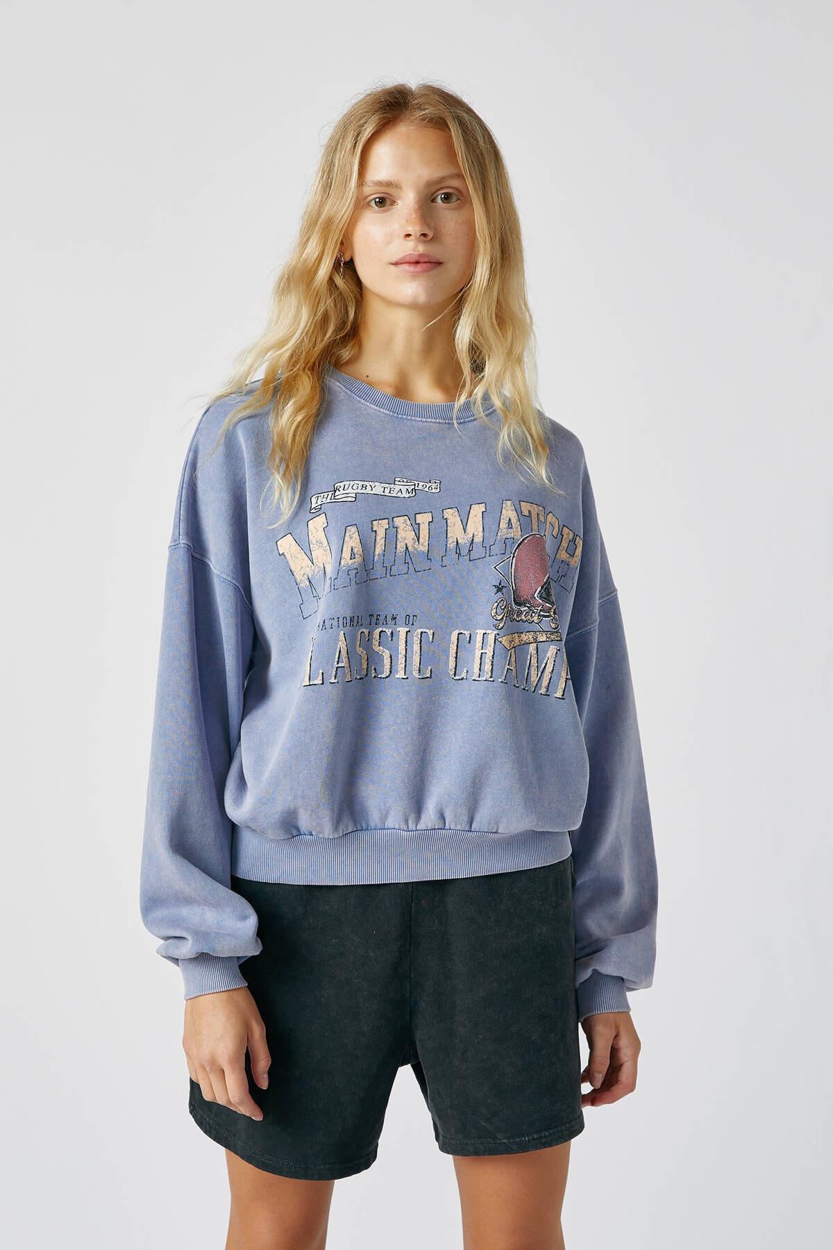 Pull & Bear Kadın Bulut Mavisi Kontrast Sloganlı Sweatshirt 09594307