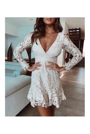 Ahsenserra Kadın Beyaz Morisa Mini Güpür Elbise