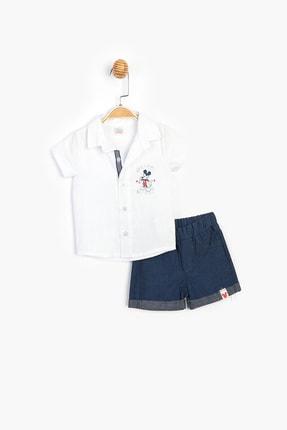 Disney Baby Erkek Çocuk Beyaz Mickey Lisanslı Gömlek Şort Takım