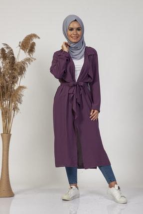 modista Kadın Mor Önü Kuşaklı Yazlık Ceket