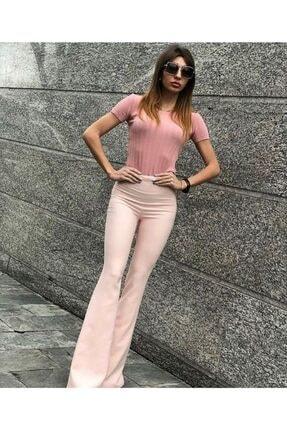 Moda Avcilari by Gülcan Kadın Pudra İspanyol Paça Pantolon