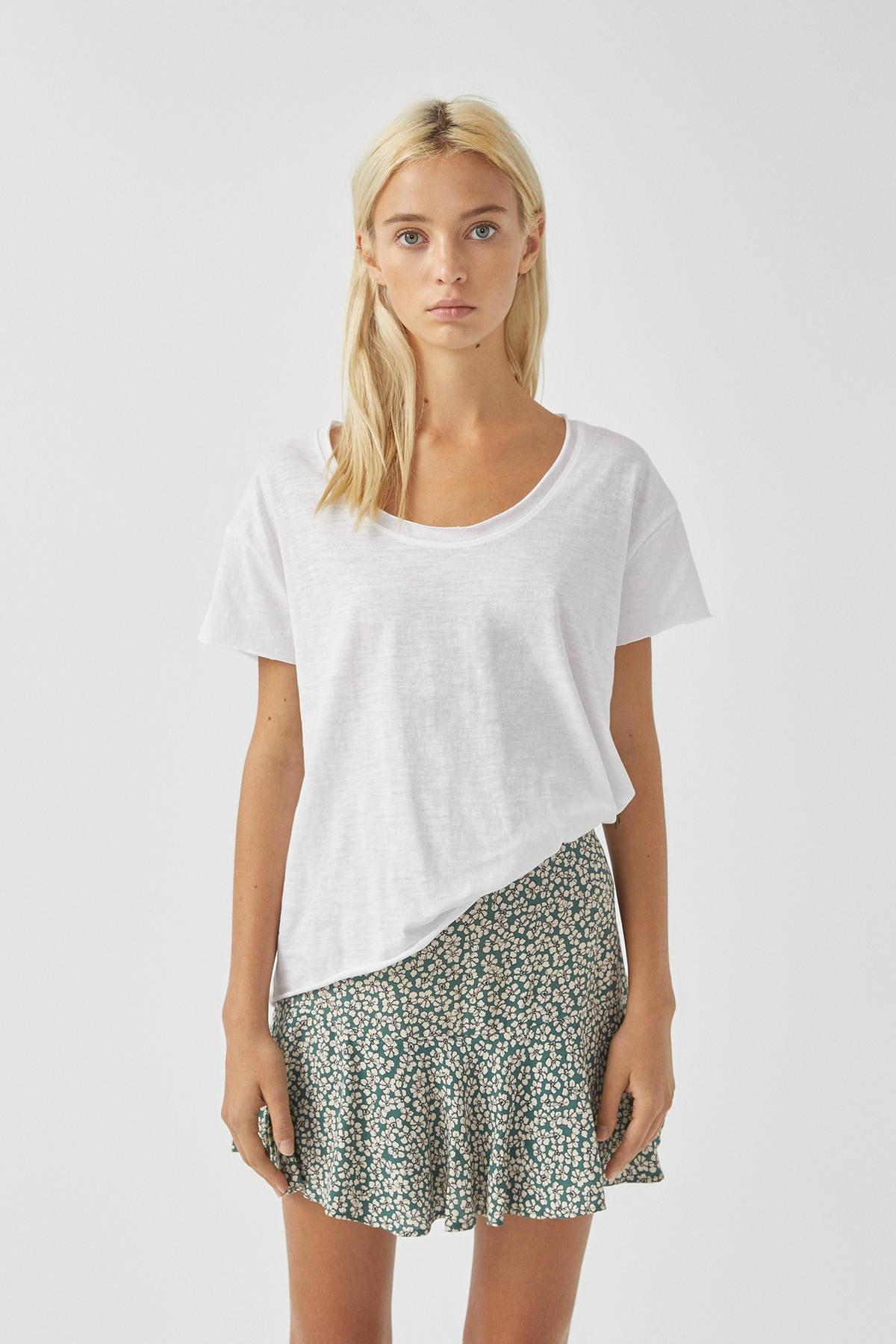 Pull & Bear Kadın Beyaz Biyeli Dikişli Basic T-Shirt 05236307