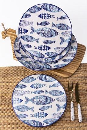 MUKKO HOME Balık El Dekorlu Servis Tabak Seti 26 cm