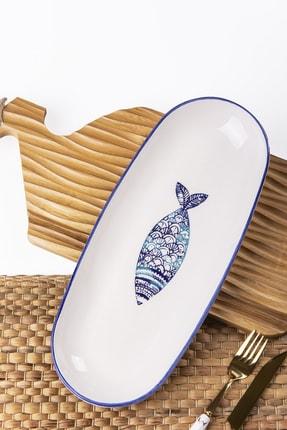 MUKKO HOME Balık El Dekorlu Kayık Tabak 36 cm