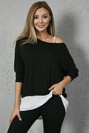 Sateen Kadın Siyah Uzun Kollu Bluz