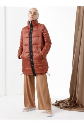 Vero Moda - Garnili Şişme Mont Kiremit