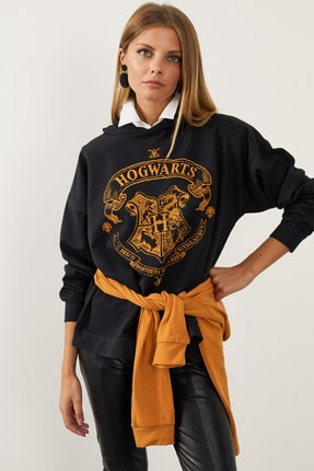 Cool & Sexy Kadın Siyah Hogwarts Önü Baskılı Kapüşonlu Sweatshirt ELT03