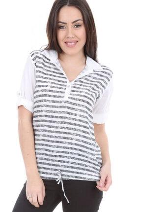 Bigdart Kadın Siyah Kol Katlamalı Çizgili Gömlek Bluz 3668