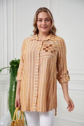 RMG Kadın Hardal Çizgili Pul Payetli Büyük Beden Gömlek